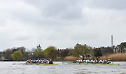 Putney, London, University Boat Race, Oxford UBC left both crews rwing past the Chiswick Eyot, during  the 156th Race, on the Championship Course Putney to Hammersmith  Saturday  03/04/2010 [Mandatory Credit Peter Spurrier/ Intersport Images]<br /> <br /> CUBC Crew, Bow - Rob WEITEMEYER, Geoff ROTH, George NASH, Peter McCELLAND, Deaglan McEACHERN, Henry PELLY, Derek RASMUSSEN, Stroke - Fred GILL and Cox - Ted RANDOLPH<br /> <br /> OUBC crew, Bow - Ben MYERS, Martin WALSH, Tyler WINKLEVOSS, Cameron WINKLEVOSS, Sjoerd HAMBURGER, Matt EVANS, Simon GAWLIK, Stroke - Charlie BURKITT and Cox - Adam BARHAMAND