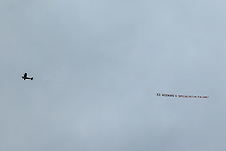 A plane flies over Turf Moor with a banner for Manchester United Executive Vice Chairman Ed Woodward ahead of Burnley v Manchester United - Mandatory by-line: Robbie Stephenson/JMP - 02/09/2018 - FOOTBALL - Turf Moor - Burnley, England - Burnley v Manchester United - Premier League