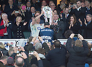 Twickenham. Great Britain.<br /> England captain, Dylan HARTLEY, holds the Triple Crown Trophy aloft after England beat Wales at the<br /> RBS Six Nations Rugby, England vs Wales at the RFU Twickenham Stadium. England.<br /> <br /> Saturday  12/03/2016 <br /> <br /> [Mandatory Credit; Peter Spurrier/Intersport-images]