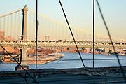 Manhattan bridge as seen from Brooklyn bridge Manhattan, New York City, New York, USA