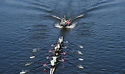 Putney. London,  Great Britain.<br /> Coaches Launch, follows, CUWBC, Goldie crew.<br /> 2016 Tideway Week, Putney. Putney Embankment, Championship Course. River Thames.<br /> <br /> Friday  25/03/2016 <br /> <br /> [Mandatory Credit; Karon PHILLIPS/Intersport-images]