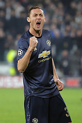 November 7, 2018 - Turin, Turin, Italy - Nemanja Matic #31 of Manchester United celebrate a victory at the end of the UEFA Champions League group H match between Juventus FC and Manchester United at Allianz Stadium on November 07, 2018 in Turin, Italy. (Credit Image: © Giuseppe Cottini/NurPhoto via ZUMA Press)