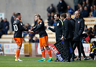Billy Sharp of Sheffield Utd replaced by Harry Chapman of Sheffield Utd during the English League One match at Vale Park Stadium, Port Vale. Picture date: April 14th 2017. Pic credit should read: Simon Bellis/Sportimage