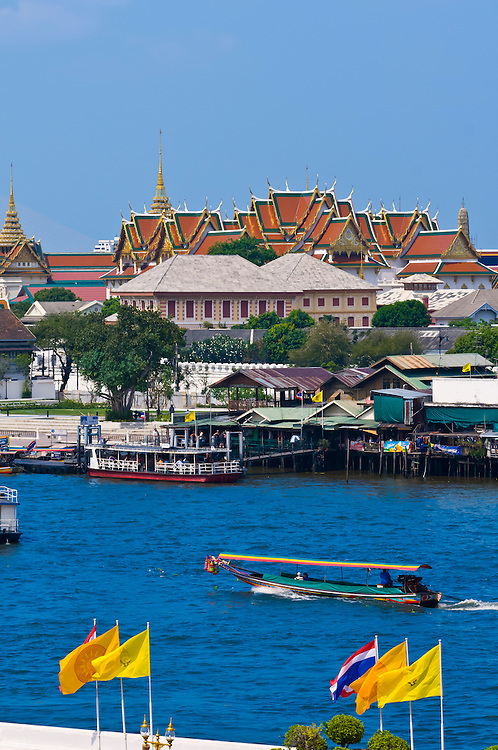 View of the Chao Phraya River from Wat Arun (the Temple of Dawn), Bangkok, Thailand