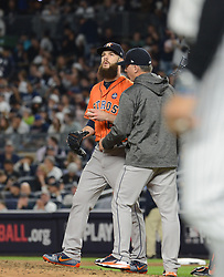 October 18, 2017 - Bronx, NY, USA - Houston Astros starting pitcher Dallas Keuchel tries to regroup against the New York Yankees in Game 5 of the American League Championship Series at Yankee Stadium in New York on Wednesday, Oct. 18, 2017. Keuchel was knocked out of the game in the fifth inning  (Credit Image: © Andrew Savulich/TNS via ZUMA Wire)