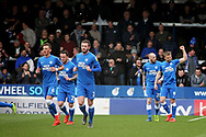 Peterborough Utd forward Matthew Godden (9) celebrates his second goal 2-1 during the EFL Sky Bet League 1 match between Peterborough United and Wycombe Wanderers at London Road, Peterborough, England on 2 March 2019.