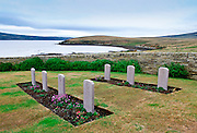 Headstones at Blue Beach Cemetery, San Carlos, Falkland Islands