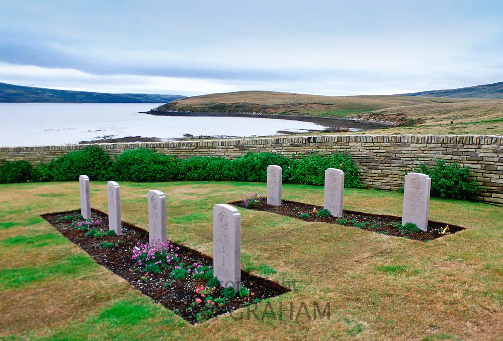 Headstones at Blue Beach Cemetery, San Carlos, Falkland Islands