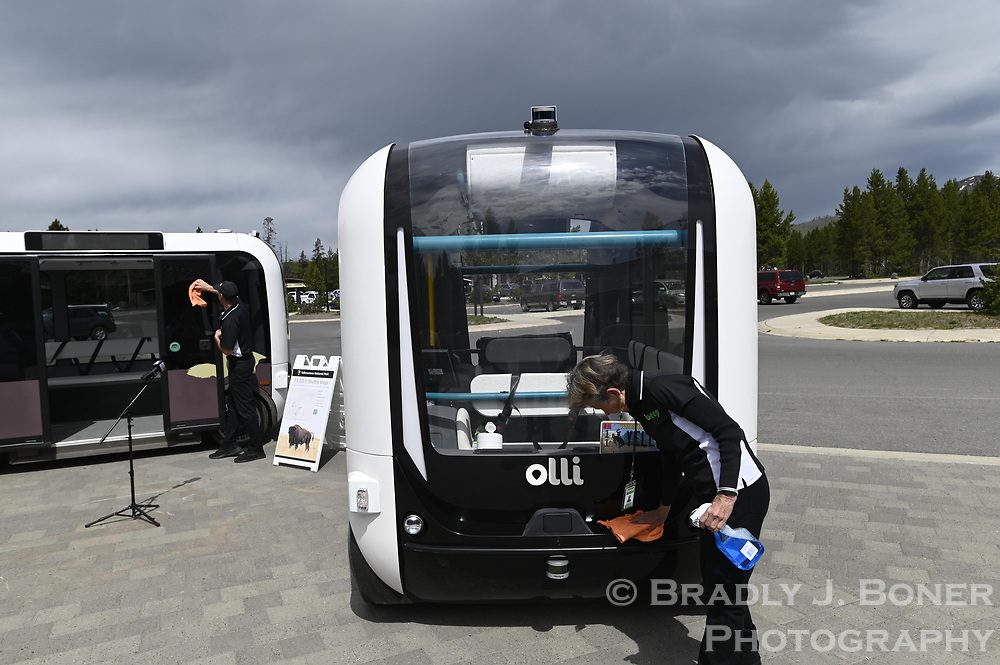 Automated electric shuttle trial at Canyon Village in Yellowstone National Park