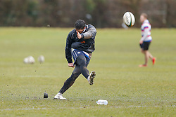 New Signing Gavin Henson of Bristol Rugby practices his kicking ahead of his First Team debut against Moseley on Sunday 15th February - Photo mandatory by-line: Rogan Thomson/JMP - 07966 386802 - 13/02/2015 - SPORT - RUGBY UNION - Bristol, England - Bristol Rugby Club Training Ground, Station Road, Henbury - Training Session.