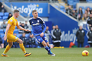 Cardiff City's Stuart O'Keefe (r) passes past Preston's Tom Clarke. Skybet football league championship match, Cardiff city v Preston NE at the Cardiff city stadium in Cardiff, South Wales on Saturday 27th Feb 2016.<br /> pic by Carl Robertson, Andrew Orchard sports photography.
