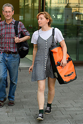 © London News Pictures. 14/09/2016. London, UK. ESME WALDRON  leaves Westminster Magistrates Court in London where she was one of nine Black Lives Matter campaigners who pleaded guilty to charges relating to a protest at London City Airport on September 6, in which the protest group locked themselves together on the airport's runway.  Photo credit: Ben Cawthra/LNP