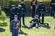 Member of Royal Guard stumbles at funeral - 17 April 2021