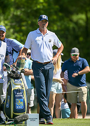 March 31, 2018 - Humble, TX, U.S. - HUMBLE, TX - MARCH 31:  Matt Kuchar (USA) waits for his turn at the tee on 2 during Round 3 of the Houston Open on March 31, 2018 at Golf Club of Houston in Humble, Texas.  (Photo by Leslie Plaza Johnson/Icon Sportswire) (Credit Image: © Leslie Plaza Johnson/Icon SMI via ZUMA Press)