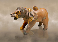 Hittite Terra cotta lion shaped ritual vessel - 16th century BC - Hattusa ( Bogazkoy ) - Museum of Anatolian Civilisations, Ankara, Turkey .<br /> <br /> If you prefer to buy from our ALAMY STOCK LIBRARY page at https://www.alamy.com/portfolio/paul-williams-funkystock/hittite-art-antiquities.html  - Type Hattusa into the LOWER SEARCH WITHIN GALLERY box. Refine search by adding background colour, place, museum etc<br /> <br /> Visit our HITTITE PHOTO COLLECTIONS for more photos to download or buy as wall art prints https://funkystock.photoshelter.com/gallery-collection/The-Hittites-Art-Artefacts-Antiquities-Historic-Sites-Pictures-Images-of/C0000NUBSMhSc3Oo