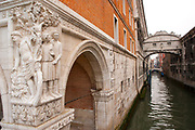 Bridge of Sighs with corner sculpture, connecting the Doge's Palace with the prison, Venice, Italy