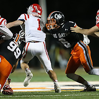 (Photograph by Bill Gerth for SVCN) Los Gatos #6 Kevin Potts  makes the tackle on Saratoga #1 Robert Scott in a SCVAL Football Game at Los Gatos High School, Los Gatos CA on 11/4/16.  (Los Gatos 49 Saratoga 7)
