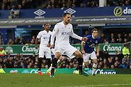Gylfi Sigudsson of Swansea City celebrates after scoring his teams 1st goal from the penalty spot. Premier league match, Everton v Swansea city at Goodison Park in Liverpool, Merseyside on Saturday 19th November 2016.<br /> pic by Chris Stading, Andrew Orchard sports photography.