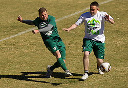 Danilo Steyer vs Jure Bohoric during friendly match between Slovenian football journalists and officials of Slovenian football federation at  Hyde Park High School Stadium on June 16, 2010 in Johannesburg, South Africa.  (Photo by Vid Ponikvar / Sportida)