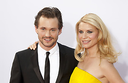 Sept. 23, 2012 - Los Angeles, California, U.S. - Pregnant CLAIRE DANES, wearing a strapless Lanvin gown (R) and HUGH DANCY at the 64th Annual Primetime Emmy Awards held at the Nokia Theatre L.A. LIVE on Sunday in  Los Angeles. (Credit Image: © Javier Rojas/Prensa Internacional/ZUMAPRESS.com)