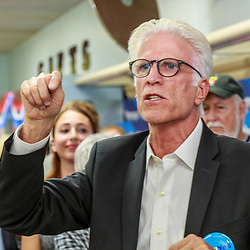 Lancaster, PA, USA / October 3, 2016: There were plenty of cheers for Actor Ted Danson as he helped open the new Lancaster campaign office for Hillary Clinton.