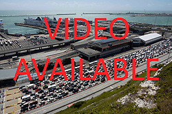 VIDEO AVAILABLE AT https://we.tl/B9ftJQLKK6        © Licensed to London News Pictures. 28/07/2018. London, UK. Long queues at the port of Dover in Kent as holiday-makers try to get through border control. There are currently wait times of over 2 hours at the approach roads and at border controls. Photo credit: Peter Macdiarmid/LNP