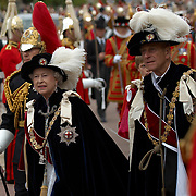 Windsor 18 June 2007 The Most Noble Order of the Garter procession at the Thanksgiving service at St. Georges chapel, Windsor Castle. Her Majesty the Queen, HRH the Duke of Edinburgh, The Prince of Wales, the Duke of York, the Princess Royal,  Princess Alexandra , Sir John Major and Camilla