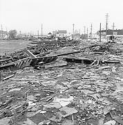 Y-560427-02. Vaughn St. Baseball stadium being torn down. April 27, 1956