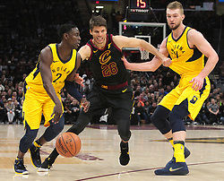 April 29, 2018 - Cleveland, OH, USA - Cleveland Cavaliers guard Kyle Korver tries to defend Indiana Pacers guard Darren Collison while being picked up by Indiana Pacers center Domantas Sabonis in the second quarter of Game 7 of the Eastern Conference First Round series on Sunday, April 29, 2018 at Quicken Loans Arena in Cleveland, Ohio. The Cavs won the game, 105-101. (Credit Image: © Leah Klafczynski/TNS via ZUMA Wire)