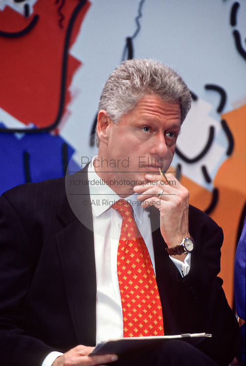 US President Bill Clinton during an event at National Children's Hospital February 18, 1998 in Washington, DC.