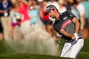 PONTE VEDRA BEACH, FL - MAY 12:  Web Simpson of the United States plays his shot from the 18th bunker during the third round of THE PLAYERS Championship on the stadium course at TPC Sawgrass on May 12, 2018. JAMES GILBERT / CORRESPONDENT