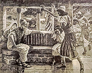 JOB HEARS BAD TIDINGS. Job i. 18. While he was yet speaking, there came also another, and said, Thy sons and thy daughters were eating and drinking wine in their eldest brother's house. From the book ' The Old Testament : three hundred and ninety-six compositions illustrating the Old Testament ' Part II by J. James Tissot Published by M. de Brunoff in Paris, London and New York in 1904