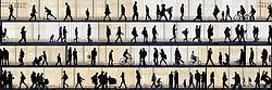Silhouette wall art of people in Barcelona, a collage for unique original interior design and home decor ideas