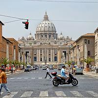 Rome. Italy. View of Saint Peters Basilica from Via della Conciliazione.