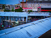24 MARCH 2017 - BANGKOK, THAILAND: Workers' housing for a construction project at the intersection of Rama IV and Sukhumvit Rd near Soi 69 (Phra Khanong). Workers frequently live in temporary housing camps near their construction site on projects in Thailand.      PHOTO BY JACK KURTZ