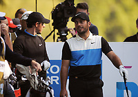 Golf - 2019 BMW PGA Championship - Thursday, First Round<br /> <br /> Rory McIlroy of England talks to Francesco Molinari, at the West Course, Wentworth Golf Club.<br /> <br /> COLORSPORT/ANDREW COWIE