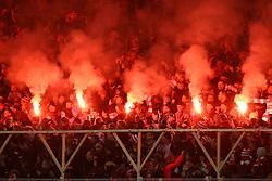 24.01.2016, Stadion An der Alten Foersterei, Berlin, GER, Testspiel, 1. FC Union Berlin vs. Borussia Dortmund, im Bild Zum Jubilaeumsspiel brannten die Union-Fans Pyrotechnik ab // during a preperation Football Match between 1. FC Union Berlin and Borussia Dortmund at the Stadion An der Alten Foersterei in Berlin, Germany on 2016/01/24. EXPA Pictures © 2016, PhotoCredit: EXPA/ Eibner-Pressefoto/ Hundt<br /> <br /> *****ATTENTION - OUT of GER*****