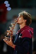 Alexander Zverev of Germany celebrates with the trophy after winning the Men's Singles Final match against Matteo Berrettini of Italy at the Mutua Madrid Open 2021, Masters 1000 tennis tournament on May 9, 2021 at La Caja Magica in Madrid, Spain - Photo Oscar J Barroso / Spain ProSportsImages / DPPI / ProSportsImages / DPPI
