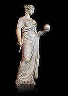 Second century AD Roman statue of Urania holding, the muse of atronomy holding  a globe, the statue was restored from two separte staues of the period, inv 293, Vatican Museum Rome, Italy,  black background ..<br /> <br /> If you prefer to buy from our ALAMY STOCK LIBRARY page at https://www.alamy.com/portfolio/paul-williams-funkystock/greco-roman-sculptures.html . Type -    Vatican    - into LOWER SEARCH WITHIN GALLERY box - Refine search by adding a subject, place, background colour, museum etc.<br /> <br /> Visit our CLASSICAL WORLD HISTORIC SITES PHOTO COLLECTIONS for more photos to download or buy as wall art prints https://funkystock.photoshelter.com/gallery-collection/The-Romans-Art-Artefacts-Antiquities-Historic-Sites-Pictures-Images/C0000r2uLJJo9_s0c