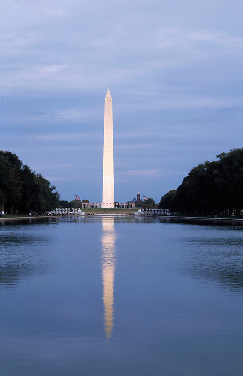 The Washington Monument with a reflection in the reflecting pond as seen from the Lincoln Memorial.