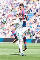 Real Madrid's Nacho Fernandez and Levante's Alex Alegria during La Liga match between Real Madrid and Levante UD at Santiago Bernabeu Stadium in Madrid, Spain September 09, 2017. (ALTERPHOTOS/Borja B.Hojas)
