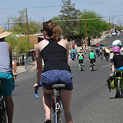 Riders on 8th Avenue during Cyclovia Tucson 2013. Bike-tography by Martha Retallick.