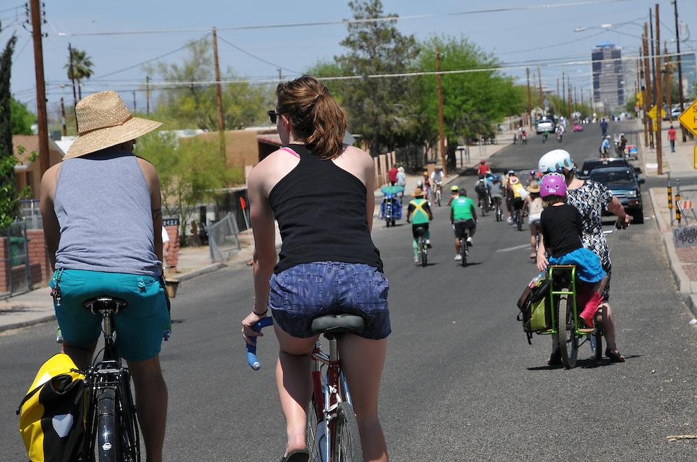 Riders on 8th Avenue during Cyclovia Tucson 2013. Bike-tography by Martha Retallick.