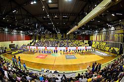 Red arena during handball match between RK Gorenje Velenje and RK Celje Pivovarna Lasko in Round #19 of 1st NLB League 2015/16, on February 24, 2016 in Rdeca dvorana, Velenje, Slovenia. Photo by Vid Ponikvar / Sportida
