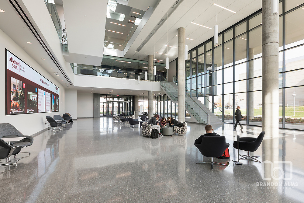 Atrium at Glass Hall at Missouri State University located in Springfield, MO.