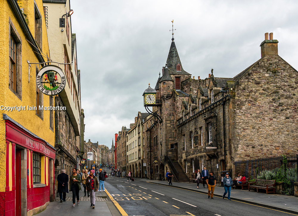 View of Canongate on the Royal Mile at Museum of Edinburgh and tollbooth in Edinburgh Old Town, Scotland, UK
