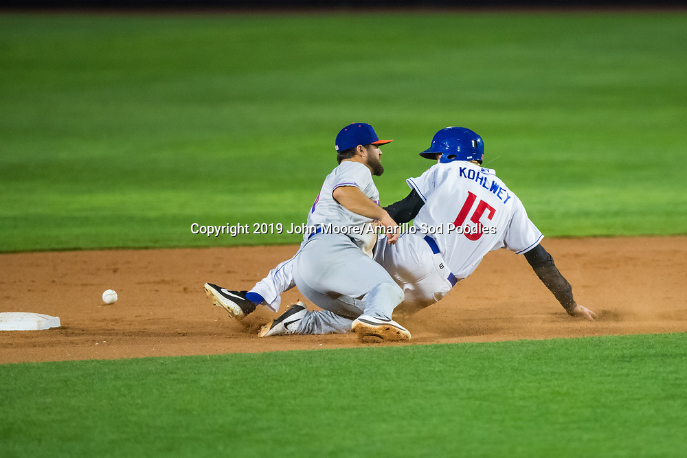 Amarillo Sod Poodles outfielder Taylor Kohlwey (15) slides into second base against the Midland RockHounds on Tuesday, Aug. 13, 2019, at HODGETOWN in Amarillo, Texas. [Photo by John Moore/Amarillo Sod Poodles]