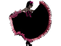 woman dancer dancing french cancan in studio isolated on white background