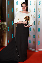 Olivia Colman, with her Best Actress in a Leading Role Bafta for The Favourite, attending the after party for the 72nd British Academy Film Awards, at the Grosvenor House Hotel in central London. Picture date: Sunday February 10th, 2019. Photo credit should read: Matt Crossick/ EMPICS Entertainment.