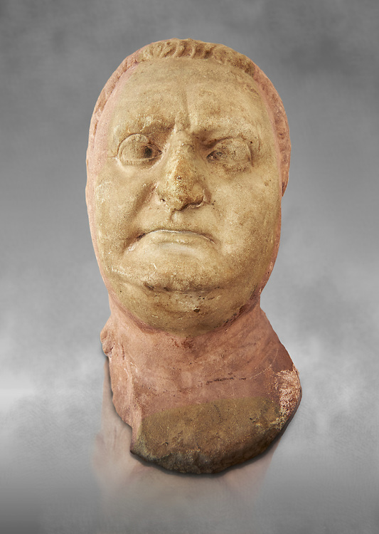 Roman sculpture of the Emperor Vitellius, excavated  from Althiburos sculpted circa 20 April 69-20 Dec 69AD. The Bardo National Museum, Tunis, Inv No: C.1784. Against a grey art background. .<br /> <br /> If you prefer to buy from our ALAMY STOCK LIBRARY page at https://www.alamy.com/portfolio/paul-williams-funkystock/greco-roman-sculptures.html . Type -    BARDO    - into LOWER SEARCH WITHIN GALLERY box - Refine search by adding a subject, place, background colour, museum etc.<br /> <br /> Visit our CLASSICAL WORLD HISTORIC SITES PHOTO COLLECTIONS for more photos to download or buy as wall art prints https://funkystock.photoshelter.com/gallery-collection/The-Romans-Art-Artefacts-Antiquities-Historic-Sites-Pictures-Images/C0000r2uLJJo9_s0c